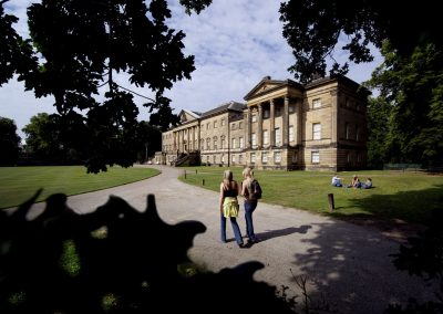 Visitors and the entrance front at Nostell Priory, West Yorkshire.