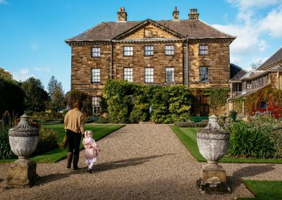 Visitors walking at the garden at Ormesby Hall, Yorkshire