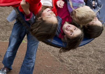 Children in the adventure playground at Castle Ward, Northern Ireland.
